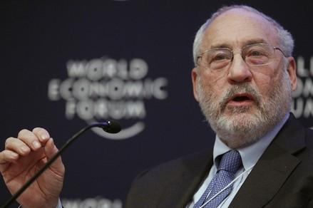 Columbia University Professor Stiglitz attends a session at the World Economic Forum in Davos