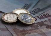 Stock On Euro Coins And Notes